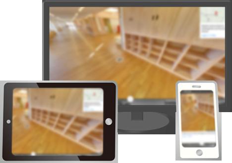 デスクトップ・タブレット・スマートフォンにそれぞれ表示された院内版ストリートビューの写真