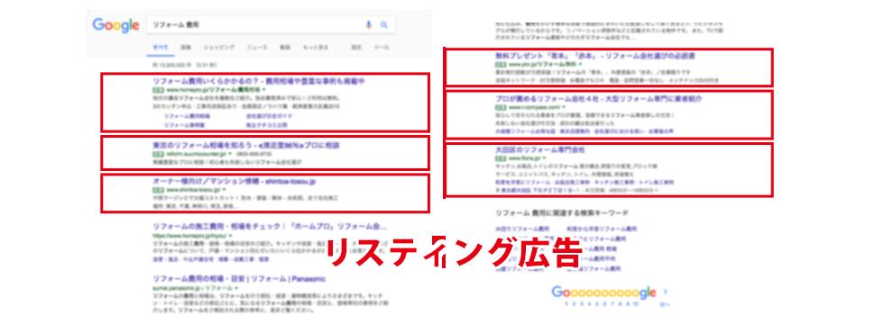 Googleの検索結果に表示されるリスティング広告枠のキャッチ画像