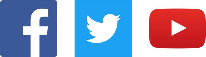 facebookのロゴ,twitterのロゴ,youtubeのロゴ